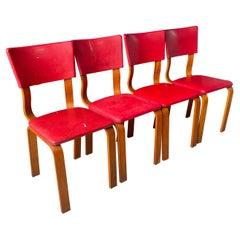 1940s Bentwood Thonet Dining Chairs Set 4 New York Vintage Mid-Century Art Deco