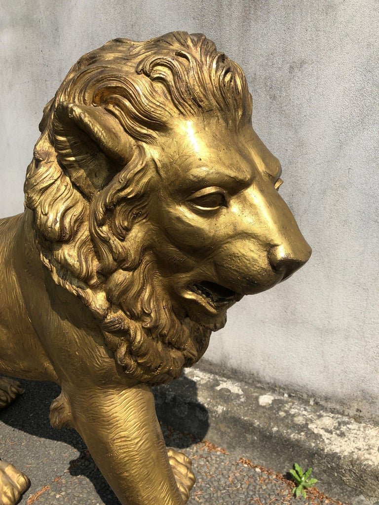 1940s Big Lion Golden Bronze Animal Sculpture from Paris In Good Condition For Sale In Milano, IT