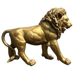 1940s Big Lion Golden Bronze Animal Sculpture from Paris