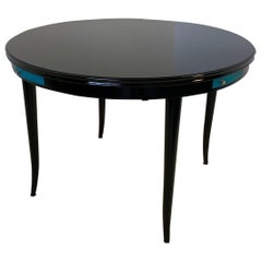 1940s Black and Blue Shagreen Game Table, Italy