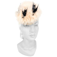 1940s Black and Pink Feathered Cocktail Hat with Bird Accents