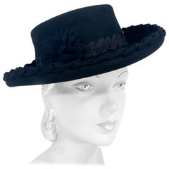 1940s Black Cashmere Feminine Pork Pie Hat