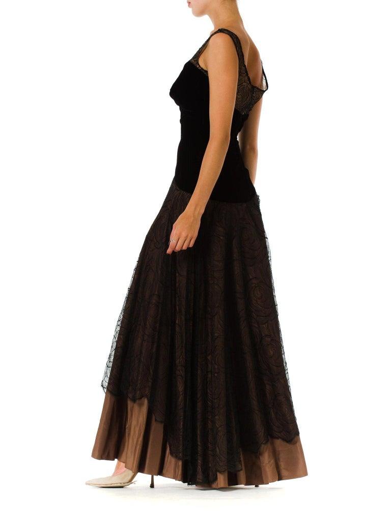 Women's 1940S Black & Copper Rayon Velvet Silk Taffeta Gown  For Sale