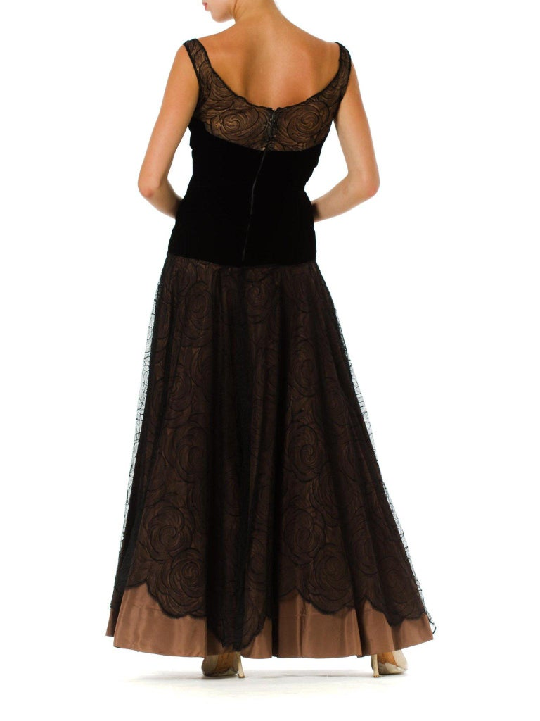 1940S Black & Copper Rayon Velvet Silk Taffeta Gown  For Sale 1