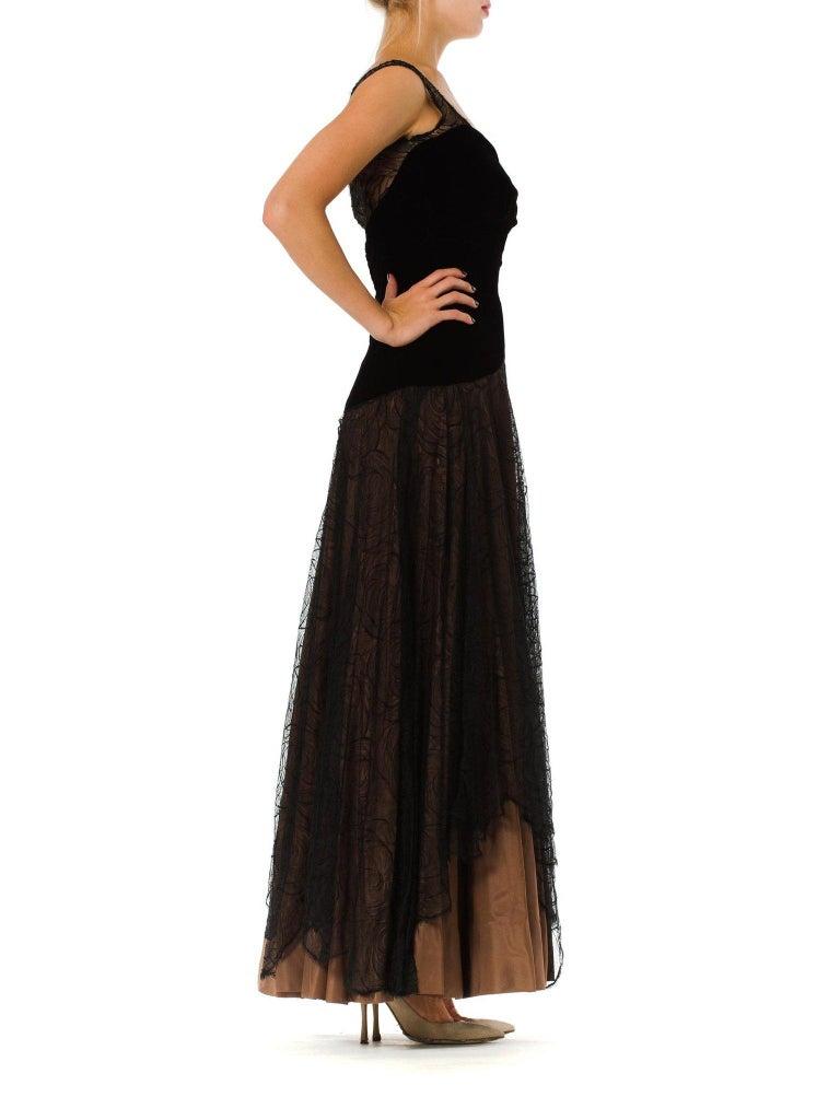1940S Black & Copper Rayon Velvet Silk Taffeta Gown  For Sale 2