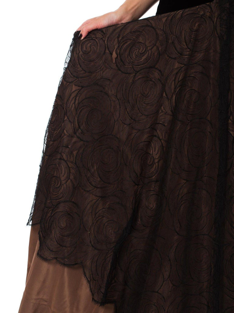 1940S Black & Copper Rayon Velvet Silk Taffeta Gown  For Sale 3