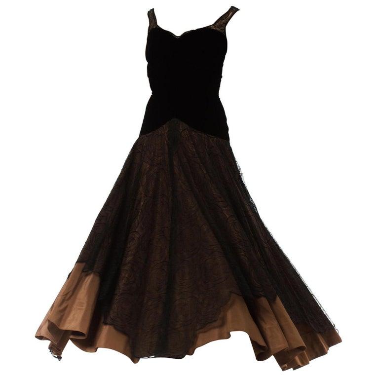 1940S Black & Copper Rayon Velvet Silk Taffeta Gown  For Sale