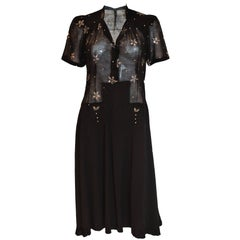 1940s Black Crepe and Cotton Dress