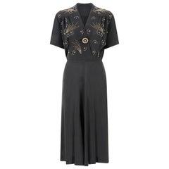 1940s Black Crepe Comet Design Beaded Dress