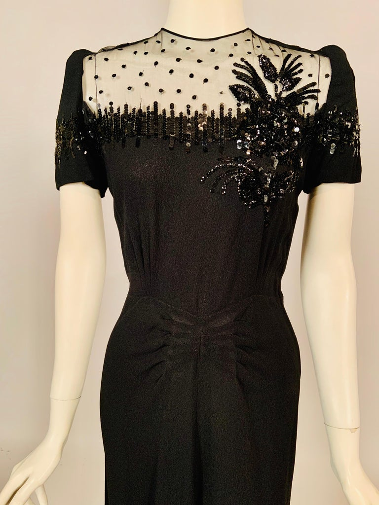 1940's Black Crepe Dress Elaborately Beaded Sheer Top In Excellent Condition For Sale In New Hope, PA
