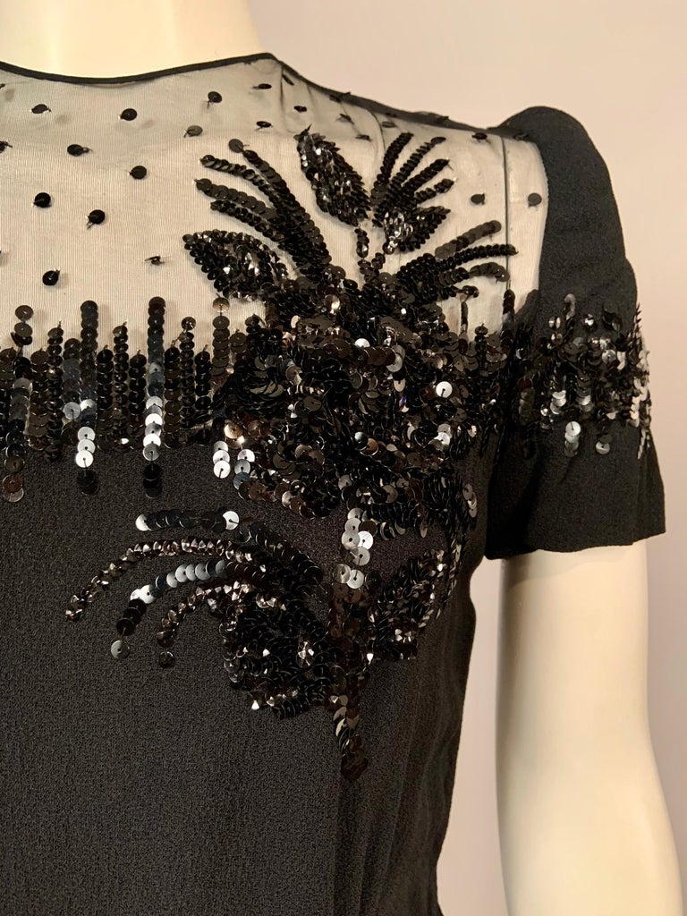 1940's Black Crepe Dress Elaborately Beaded Sheer Top For Sale 1