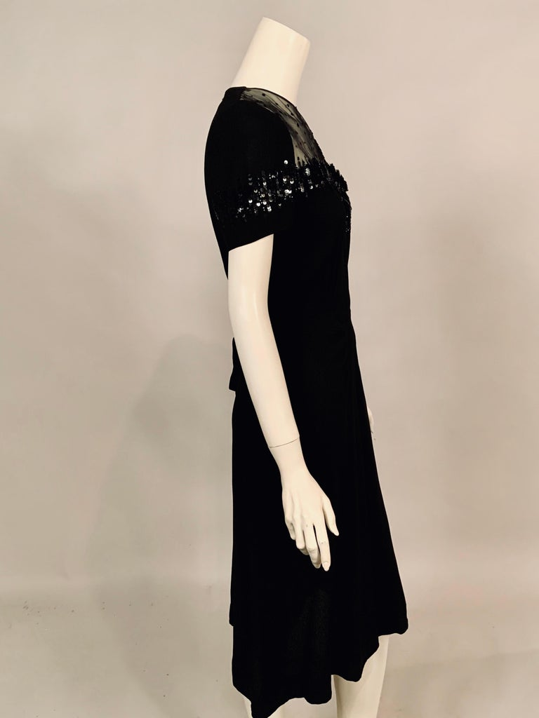 1940's Black Crepe Dress Elaborately Beaded Sheer Top For Sale 2