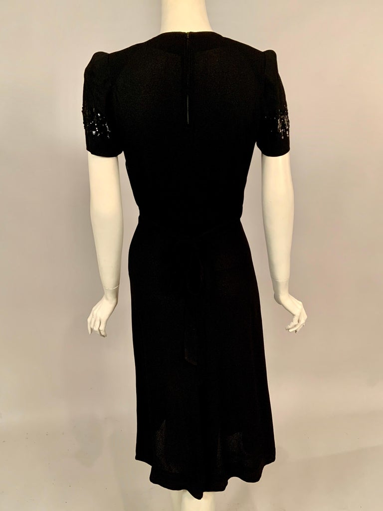 1940's Black Crepe Dress Elaborately Beaded Sheer Top For Sale 3