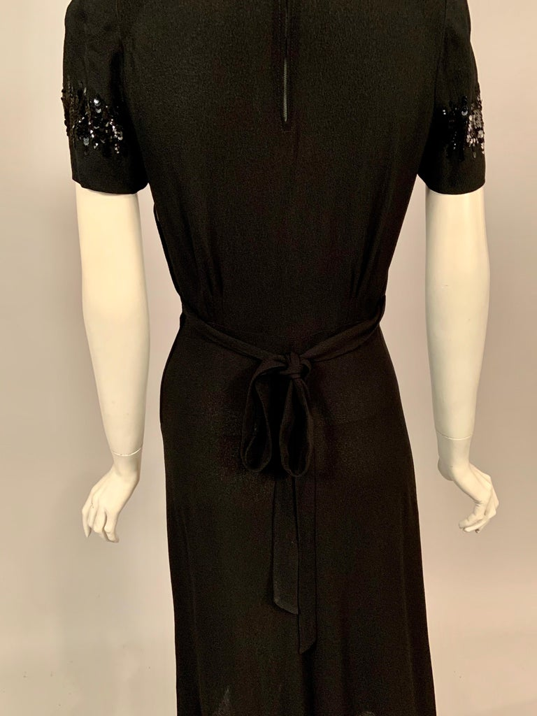 1940's Black Crepe Dress Elaborately Beaded Sheer Top For Sale 4