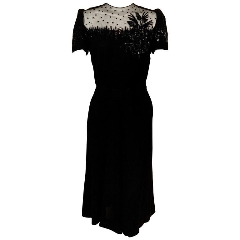 1940's Black Crepe Dress Elaborately Beaded Sheer Top For Sale
