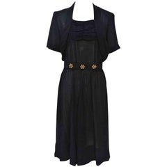 1940s Black Dress with Studded Belt