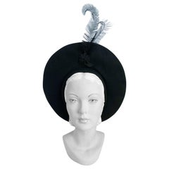 1940s Black Fur Felt Pancake Hat with Star and Feather Accent