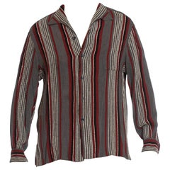 1940S Black & Grey Rayon Blend Men's Shirt With Textured Red White Stripes