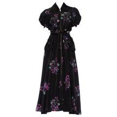 "1940'S Black Hand Painted Rayon Taffeta  Old Hollywood ""Royal Maid"" Glamorous H"