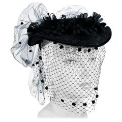 1940s Black Horse Hair Hat With Veil, Flowers, and Net Bow
