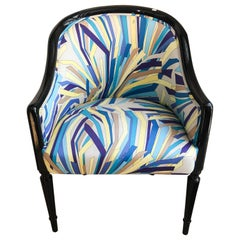 1940s Black Lacquer Armchair with Vintage 1970s Emilio Pucci Fabric