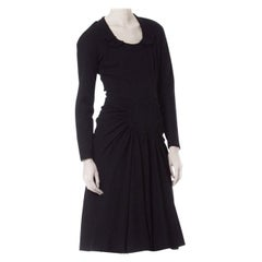 1940S Black Wool Vamp Style Shirred Skirt Dress