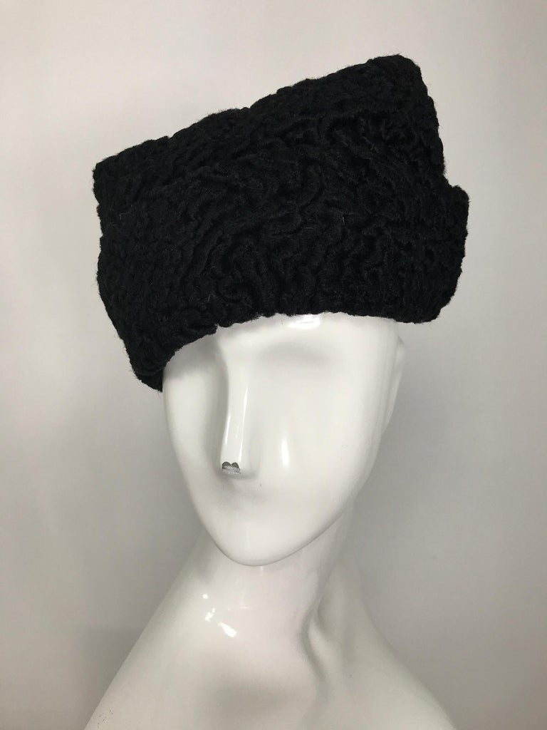1940s Black Persian Lamb Angled Hat and Muff Purse Vintage For Sale 7