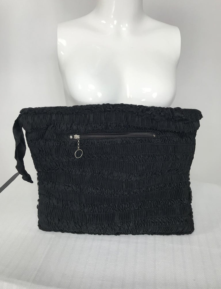 Women's 1940s Black Persian Lamb Angled Hat and Muff Purse Vintage For Sale