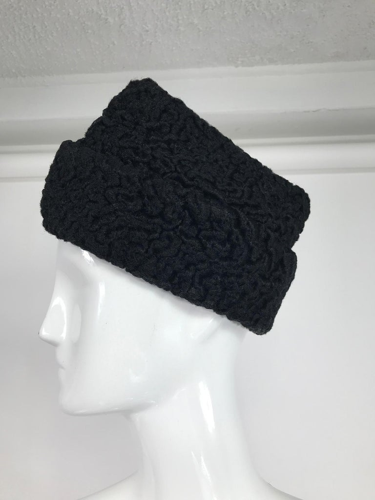 1940s Black Persian Lamb Angled Hat and Muff Purse Vintage For Sale 2