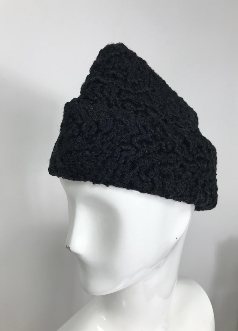 1940s Black Persian Lamb Angled Hat and Muff Purse Vintage For Sale 3