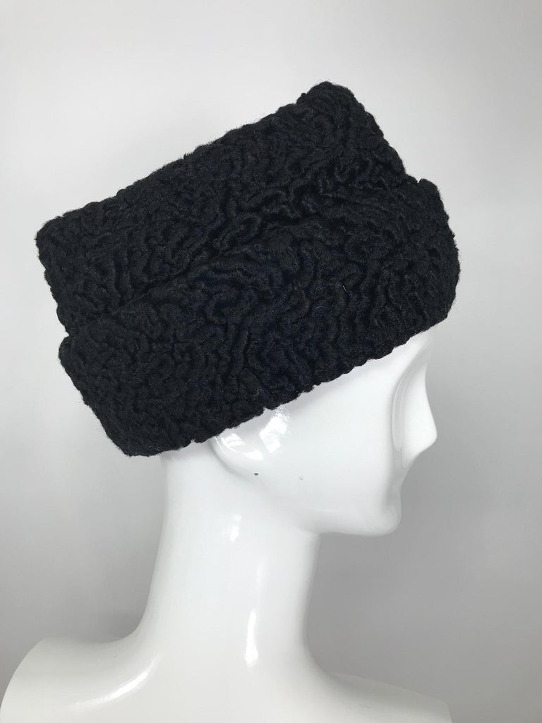 1940s Black Persian Lamb Angled Hat and Muff Purse Vintage For Sale 4