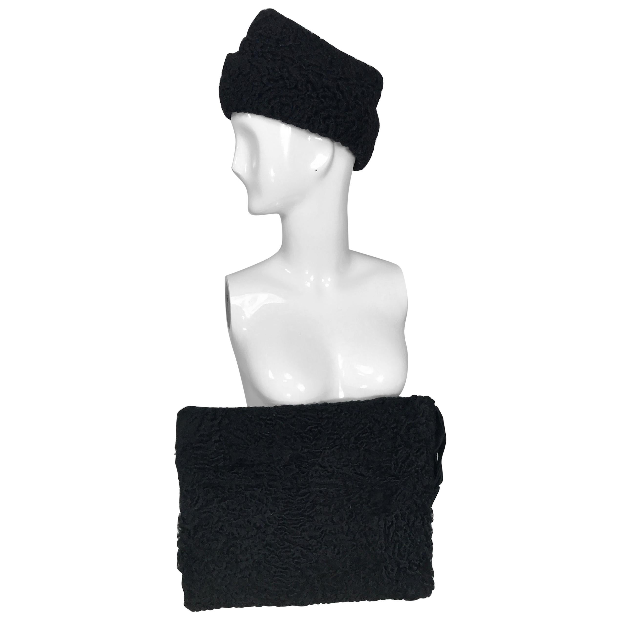 1940s Black Persian Lamb Angled Hat and Muff Purse Vintage