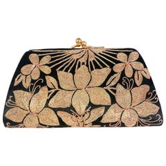 1940s Black Satin Evening Clutch with Gold Metallic Shusu Embroidery