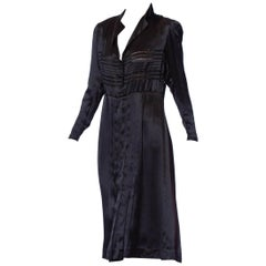 1940'S Black Silk Charmeuse Button Front Couture Detailed Dress From Paris