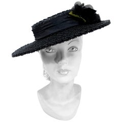 1940s Black Straw Hat with Silk Flower