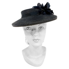 1940s Black Straw Perch Hat with Silk Rhinestoned Flower