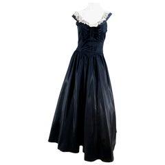 1940s Black Taffeta Fishtail Evening Gown