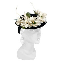 1940s Black Toy Hat with Flowers and Feathered Birds