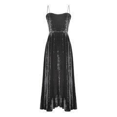 1940s Black Velvet Art Deco Floral Print Evening Dress