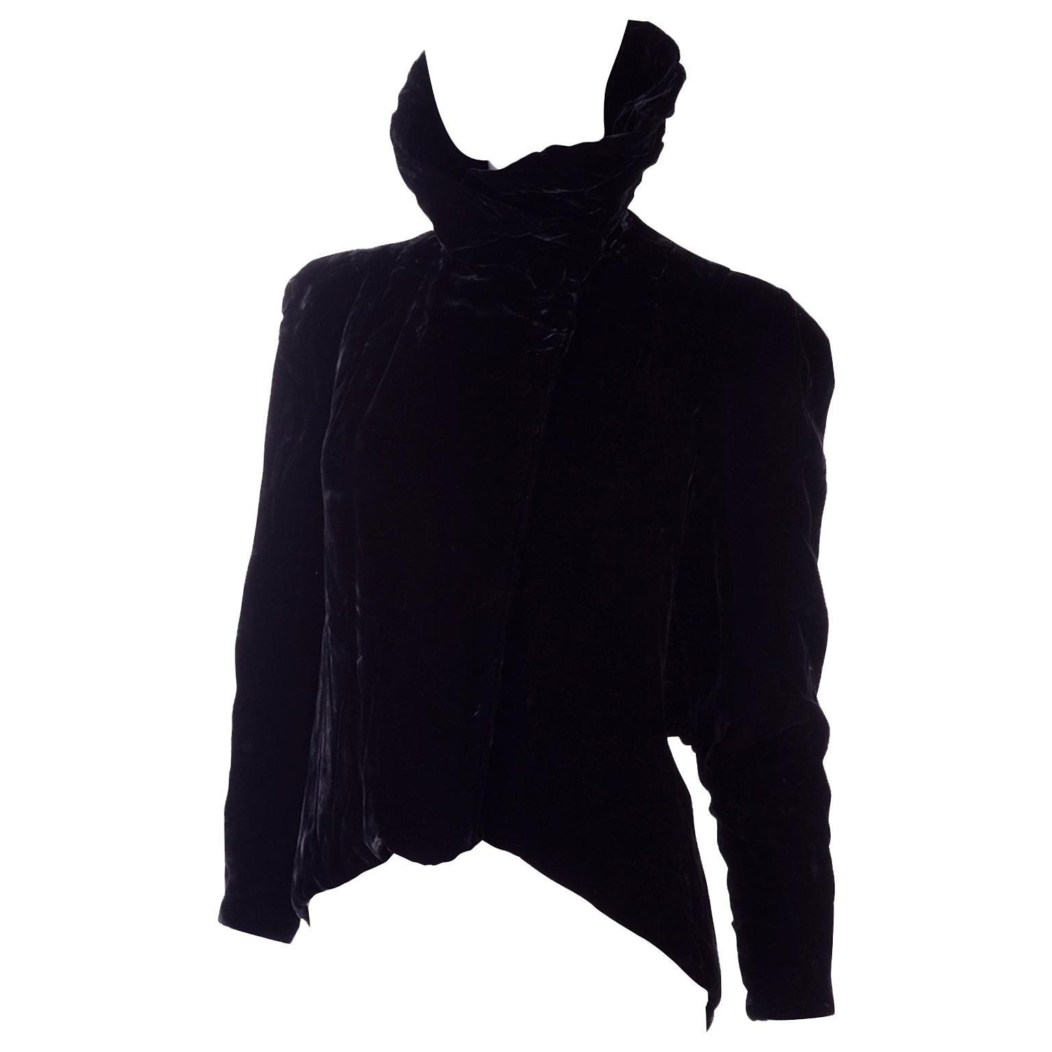 1940s Black Velvet Vintage Evening Jacket W Swing Back & Gathered Puff Sleeves