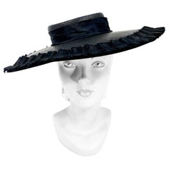 1940s Black Wide-Brimmed Woven Hat