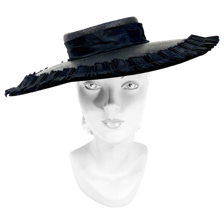 1940s Black Wide-Brimmed Woven Hat For Sale