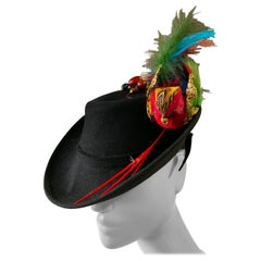 1940s Black Wool Felt Robin Hood Style Hat W/ Extravagant Feather Bird