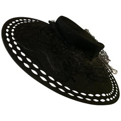 1940s Black Wool Felt Wide Brimmed Hat W/ Marquis-Shaped Cut-Outs And Veil