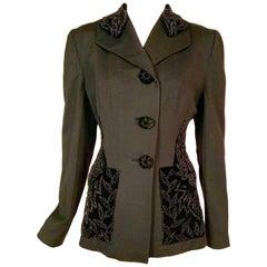 1940's Black Wool Jacket with Black Beaded Velvet Collar and Pocket Decoration