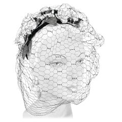1940s Black Woven Straw Hat with Flowers and Full-face Veil