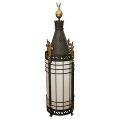 1940s Black Wrought Iron Lantern Pendant with Gold Accents and Glass Shade