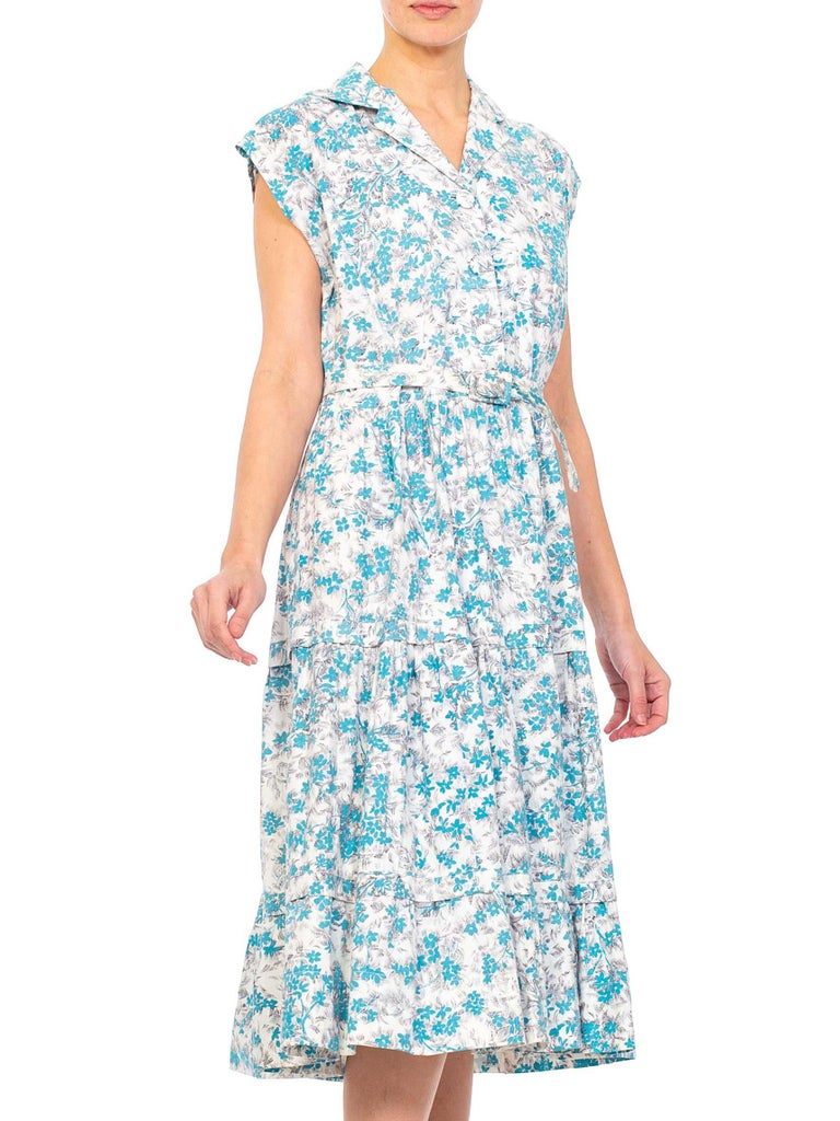 Gray 1950S Blue & White Floral Cotton Button Down Day Dress With Belt For Sale