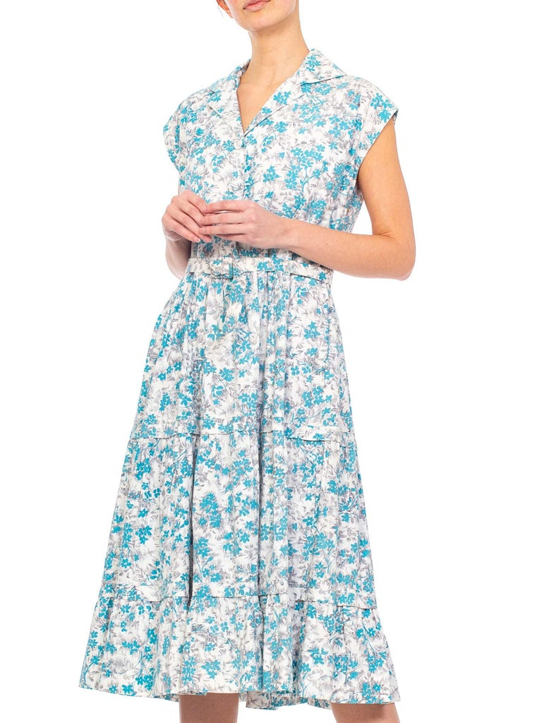 1950S Blue & White Floral Cotton Button Down Day Dress With Belt For Sale 2