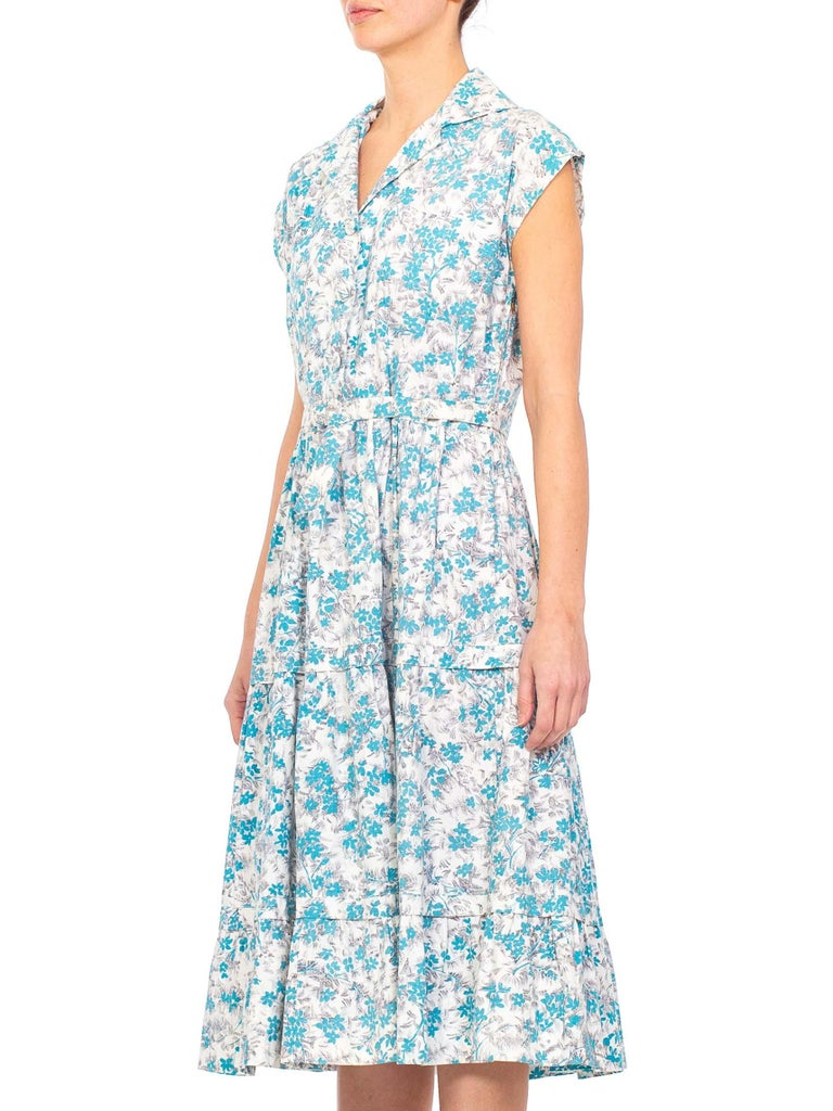 1950S Blue & White Floral Cotton Button Down Day Dress With Belt For Sale 3